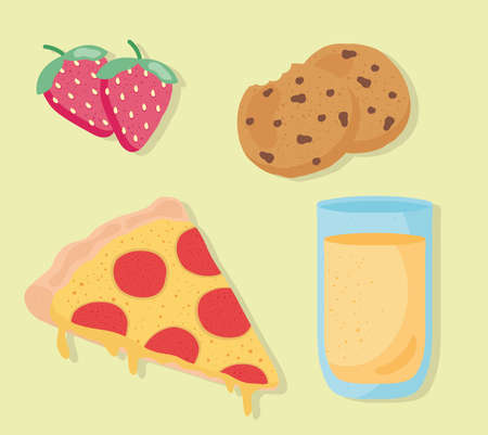 bundle of four fresh delicious food and drink icons vector illustration design