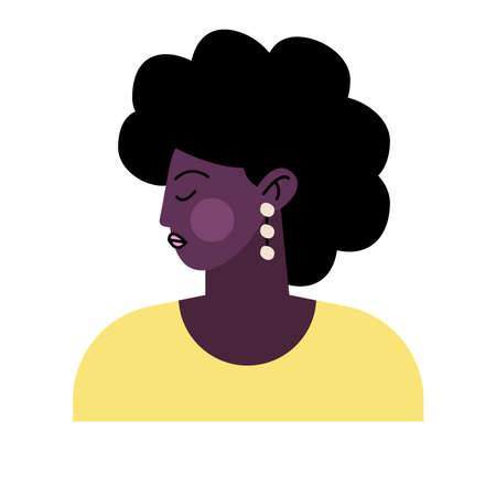 afro young woman avatar character vector illustration design