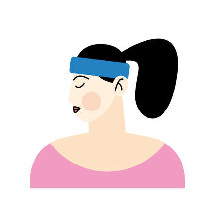 asian young woman wearing bandana character vector illustration design
