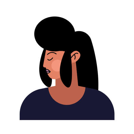asian young woman with black hair character vector illustration design