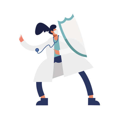 female doctor wearing medical mask with shield and stethoscope character vector illustration design