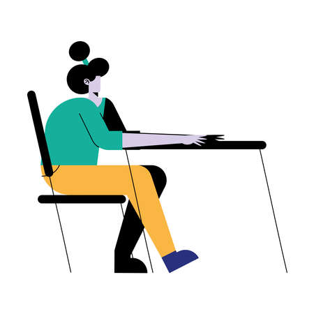 young woman seated in desk character vector illustration design
