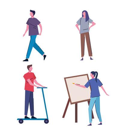 bundle of people practicing activities characters vector illustration design