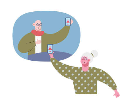 old couple using technology in video calling characters vector illustration design Vectores