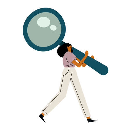 young woman lifting magnifying glass character vector illustration design