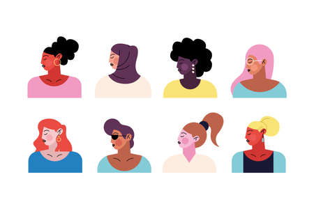 group of eight young women characters vector illustration design