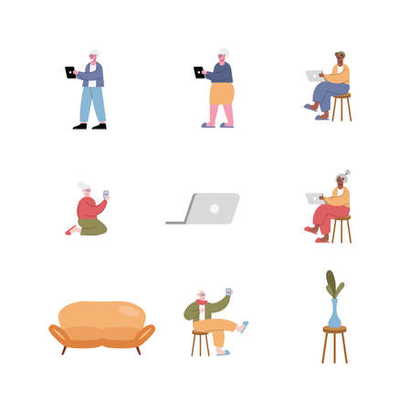 interracial old people using technology set icons vector illustration design