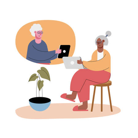 old women using technology in video calling characters vector illustration design