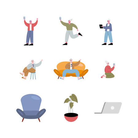 old people using technology characters set icons vector illustration design