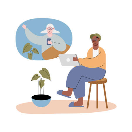 interracial old couple using technology in video calling characters vector illustration design
