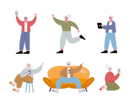 old people using technology characters vector illustration design