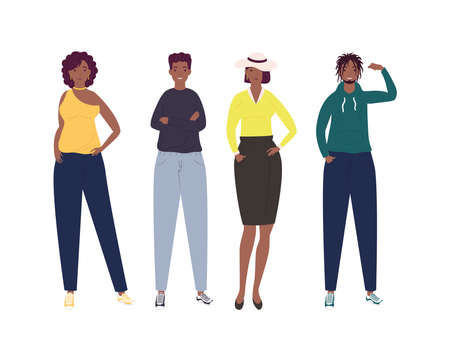 group of four persons afro characters vector illustration design