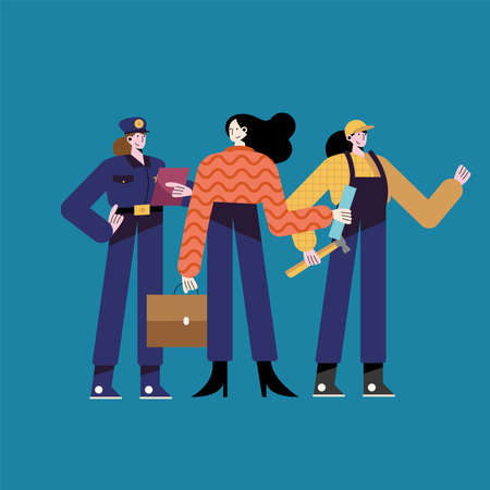 three women different professions characters vector illustration design