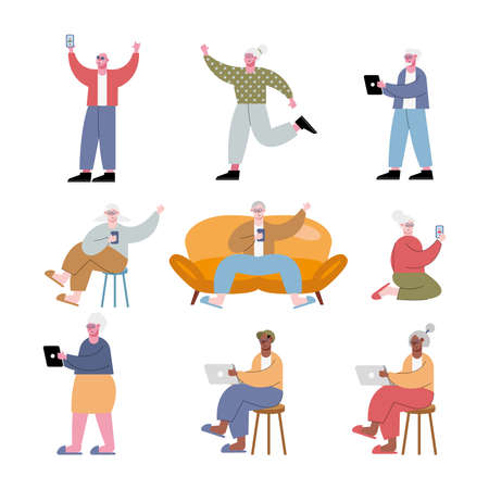 interracial old people using technology vector illustration design