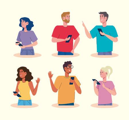 community using smartphones avatars characters vector illustration design Vecteurs