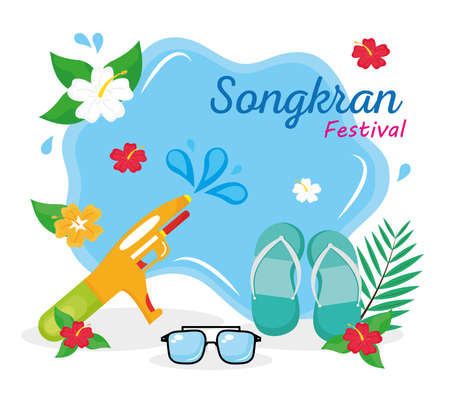 happy songkran festival lettering with water gun and glasses vector illustration design
