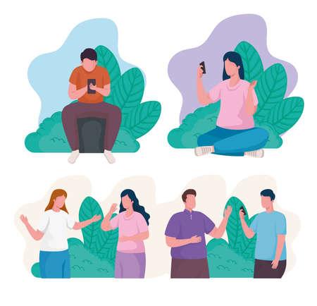 community people using smartphones characters vector illustration design
