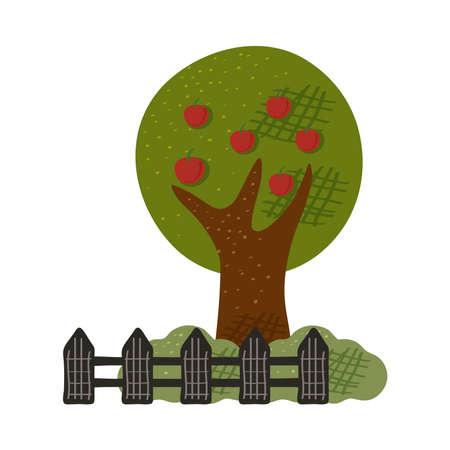 apples tree plant with fence farm scene vector illustration design Vektoros illusztráció
