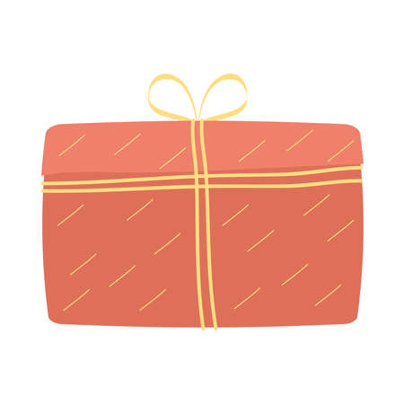 red giftbox present packing isolated icon vector illustration design