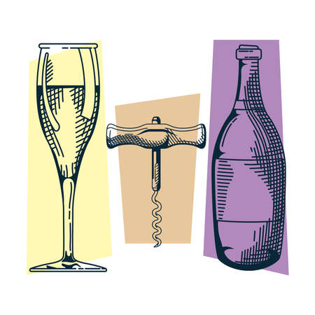 champagne bottle and cup with corckscrew hand draw style vector illustration design