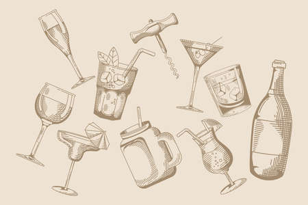 drinks and beverages pattern hand draw style icon vector illustration design