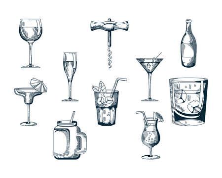 bundle of ten drinks set icons vector illustration design Stock Illustratie