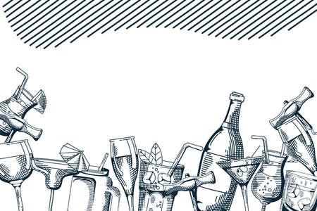 drinks and beverages hand draw frame vector illustration design