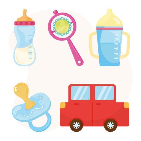 bundle of five baby shower celebration icons vector illustration design