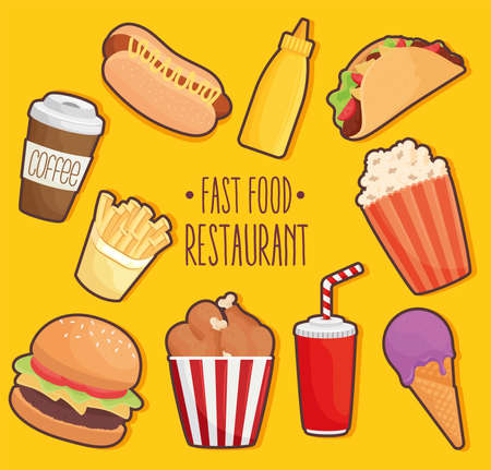 fast food lettering with set icons vector illustration design