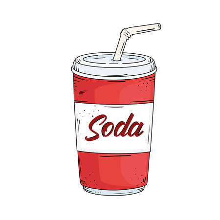fresh soda take away drawn Vector Illustratie