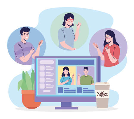 people with desktop video conference