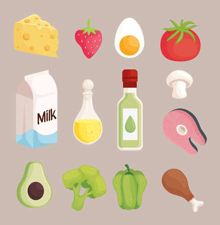 thirteen healthy food set icons Векторная Иллюстрация