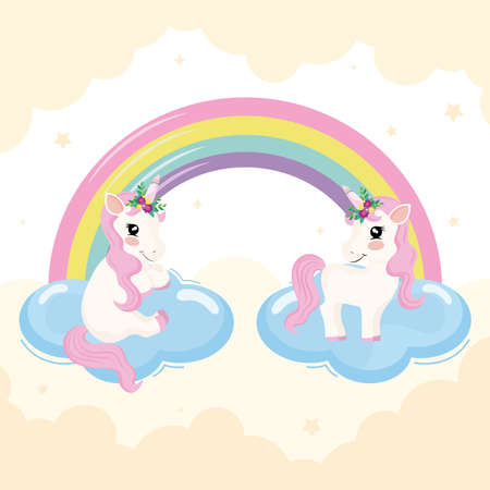 baby unicorns and rainbow scene