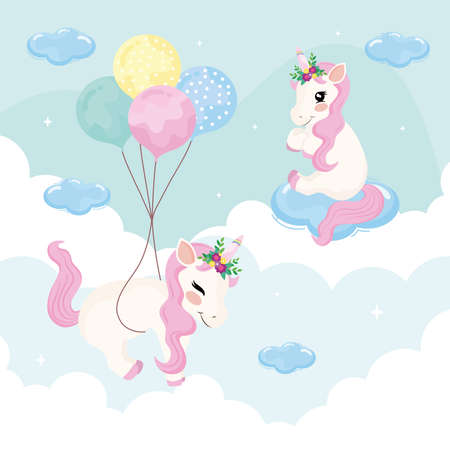 unicorns floating in the sky