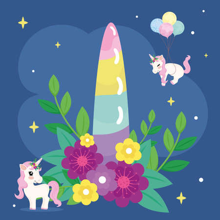 baby unicorns and magic horn
