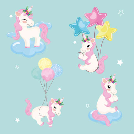 four baby unicorns magic icons
