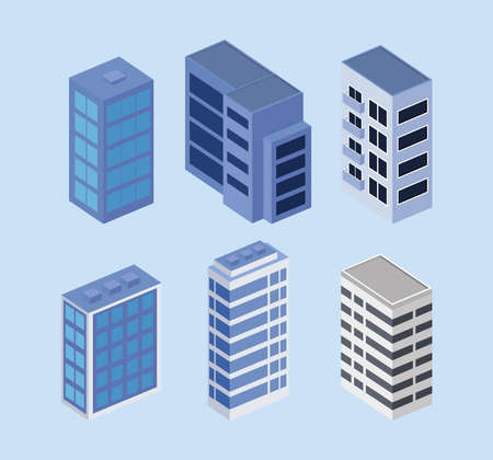 buildings six set isometrics icons