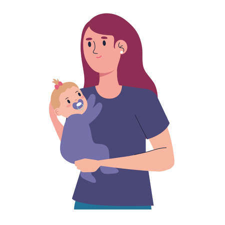 mother and baby girl characters
