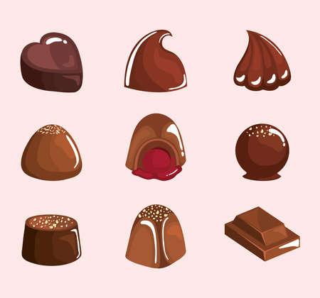 nine chocolate premium products icons