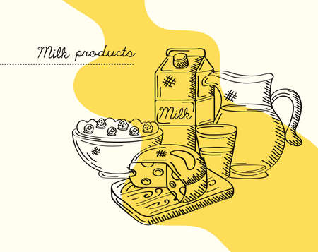 dairy products poster yellow background