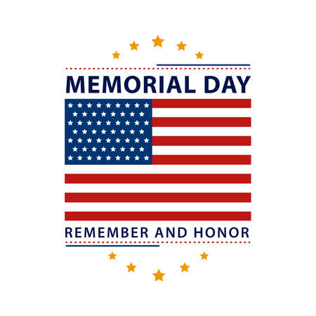 memorial day label with flag Vector Illustration