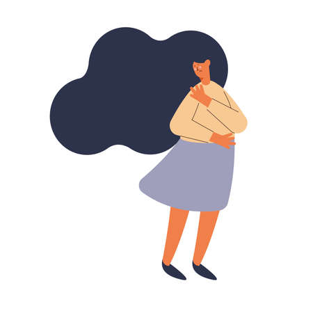 depressed woman character standing icon