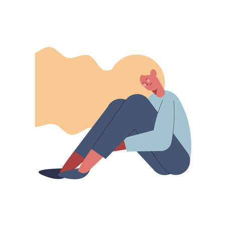 depressed blond woman character icon