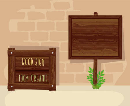 wood two signals set icons