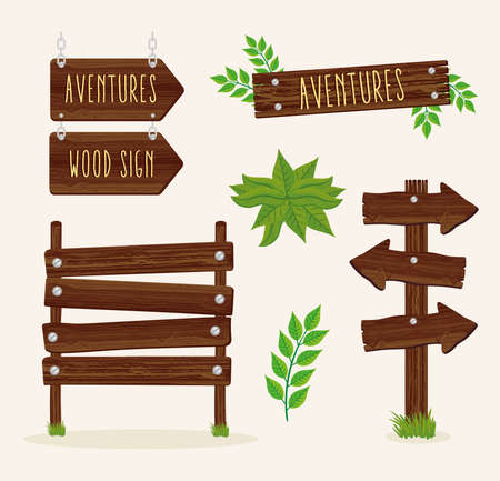 five wood signals set icons