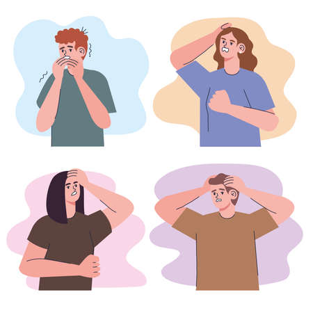 four irritated people group characters