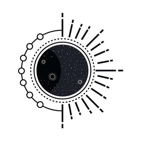 waxing gibbous moon phase style monochrome