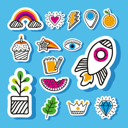 doodle style fifteen set icons