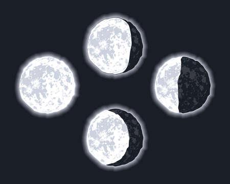 four moon phases set icons Vektorové ilustrace