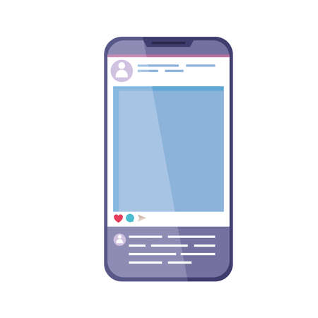 smartphone with account social media Vektoros illusztráció